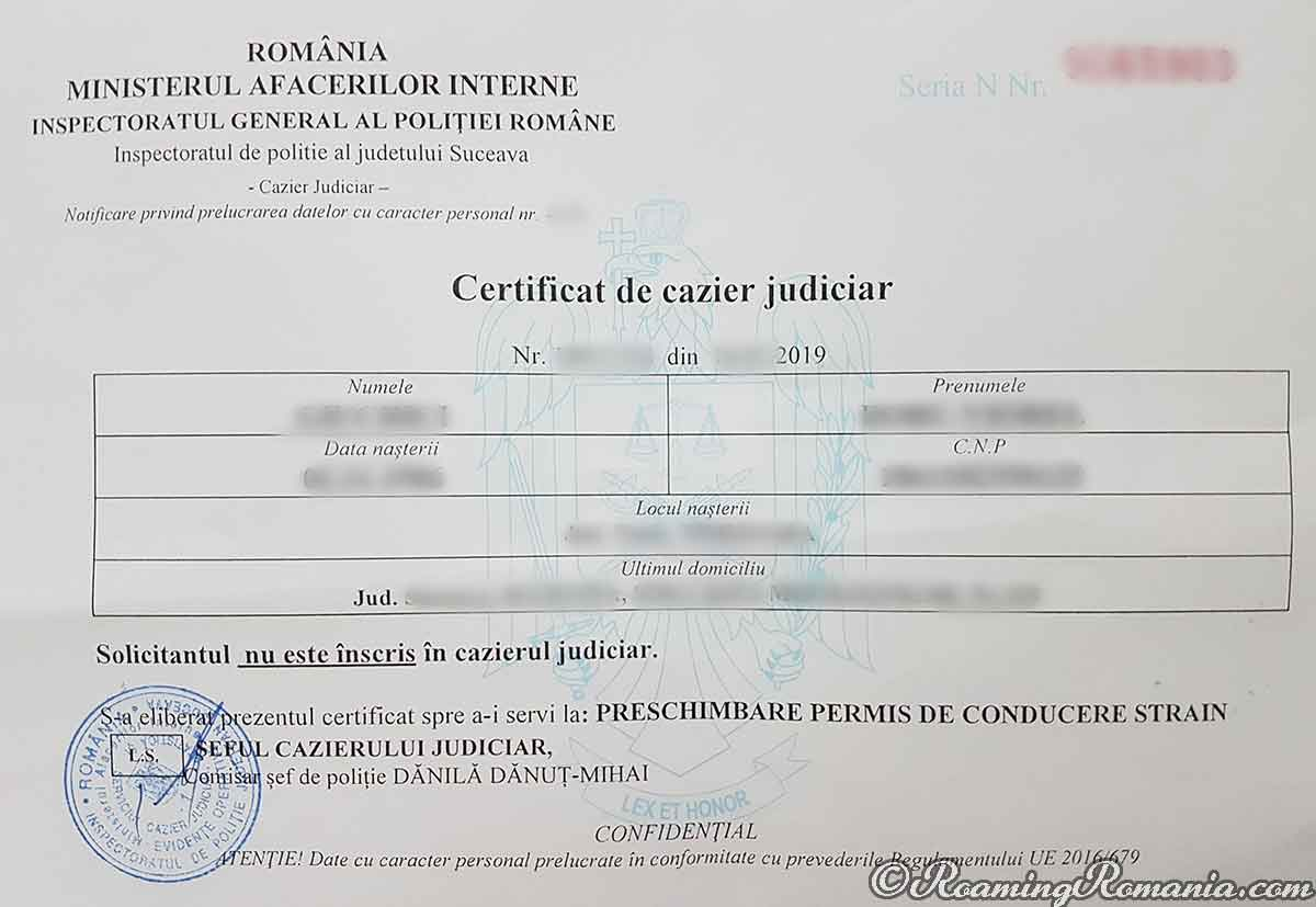 How to Obtain a Criminal Record Certificate in Romania